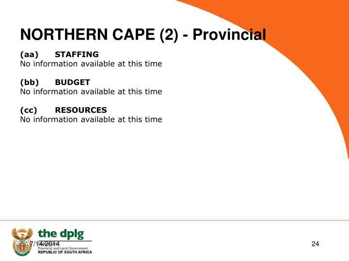 NORTHERN CAPE (2) - Provincial