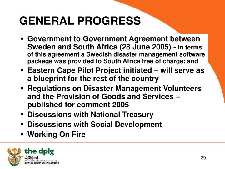 Government to Government Agreement between Sweden and South Africa (28 June 2005) -