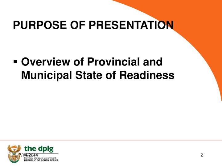 Overview of Provincial and Municipal State of Readiness