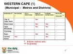 western cape 1 municipal metros and districts