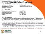 western cape 2 provincial