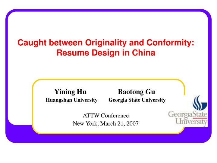 Caught between originality and conformity resume design in china