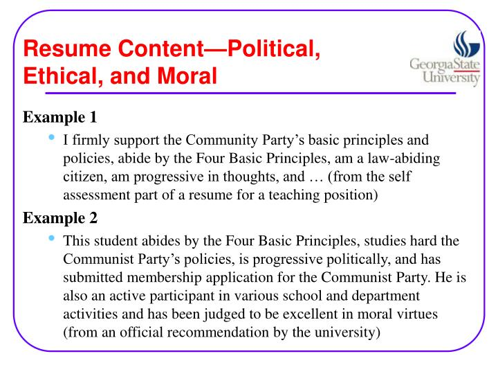 Resume Content—Political, Ethical, and Moral