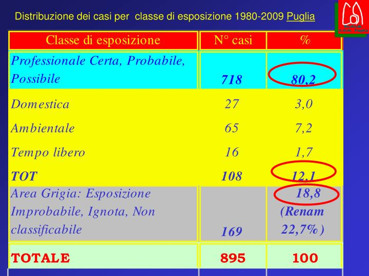 Distribuzione dei casi per  classe di esposizione 1980-2009