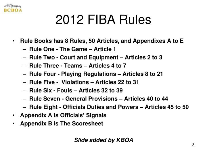 2012 FIBA Rules
