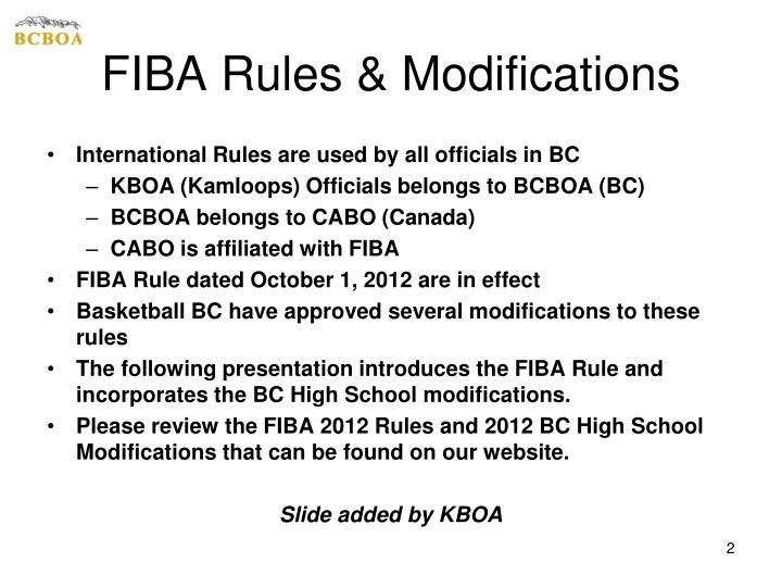 Fiba rules modifications