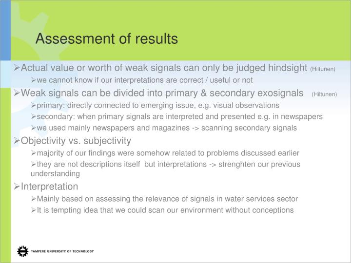 Assessment of results