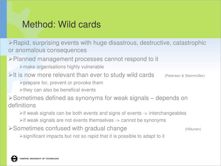 Method: Wild cards