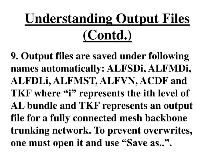 Understanding Output Files (Contd.)