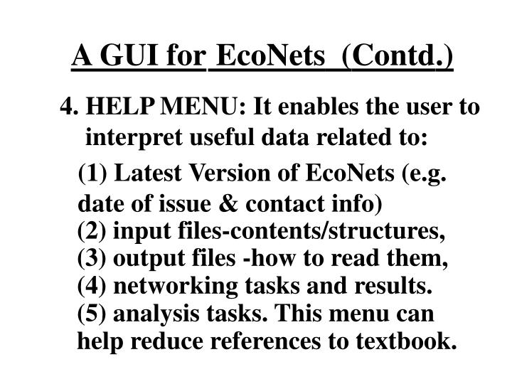 (1) Latest Version of EcoNets (e.g. date of issue & contact info)