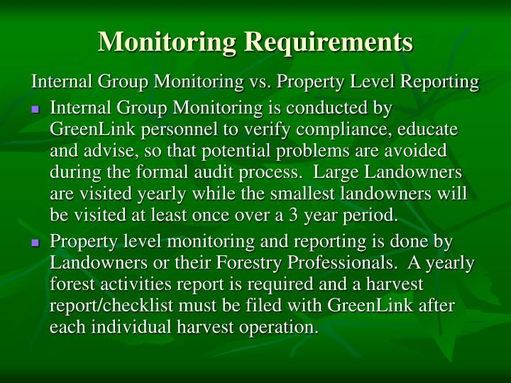 Monitoring Requirements