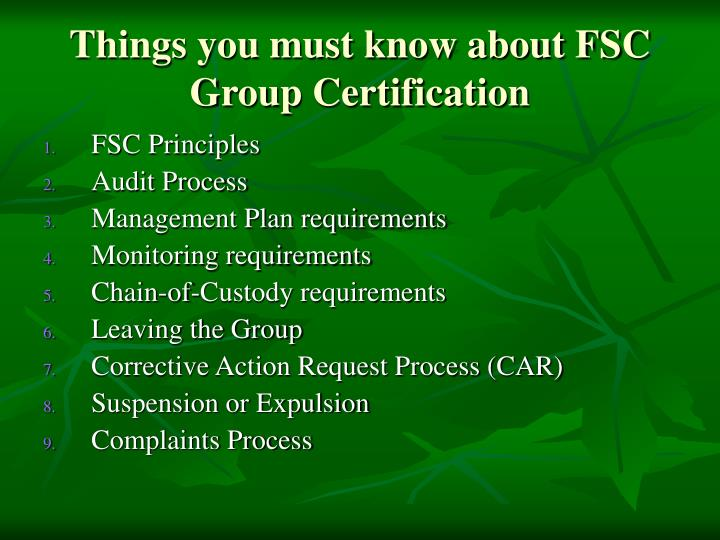 Things you must know about FSC Group Certification