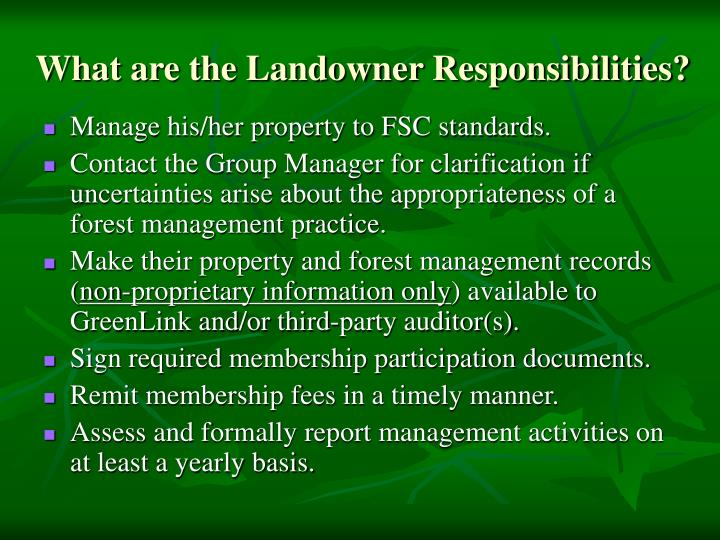 What are the Landowner Responsibilities?