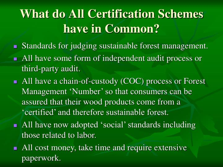 What do All Certification Schemes have in Common?