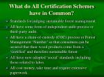 what do all certification schemes have in common