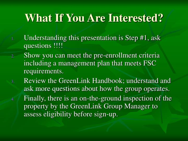 What If You Are Interested?