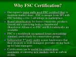 why fsc certification