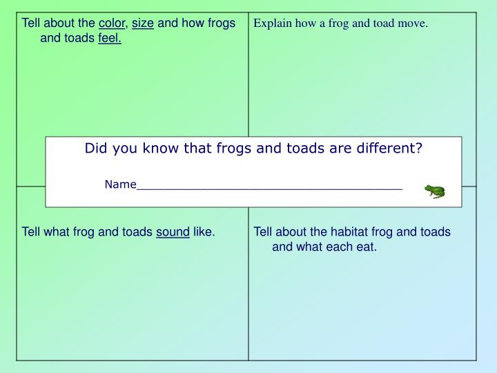 Did you know that frogs and toads are different?