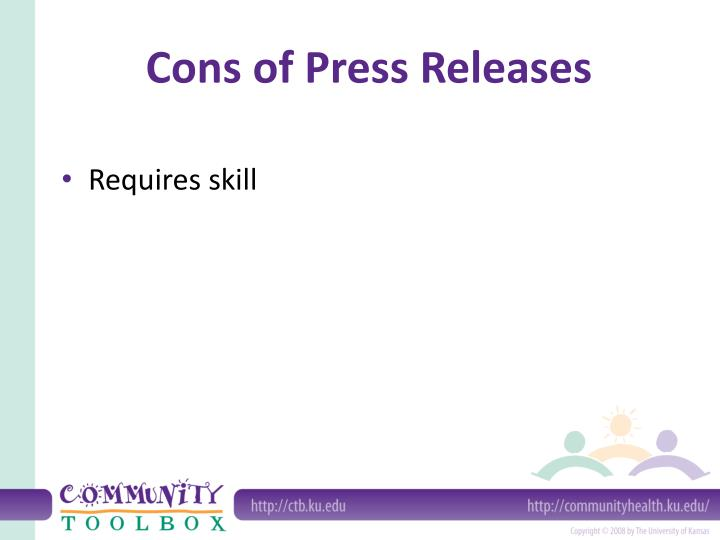 Cons of Press Releases