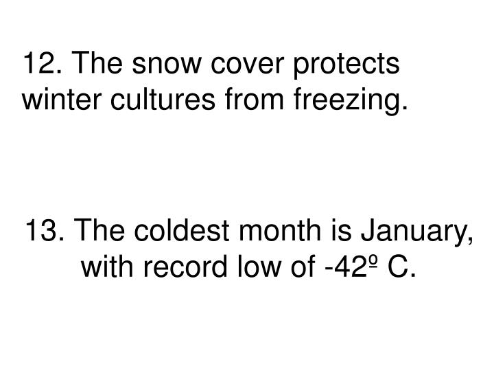 13. The coldest month is January, with record low of -42