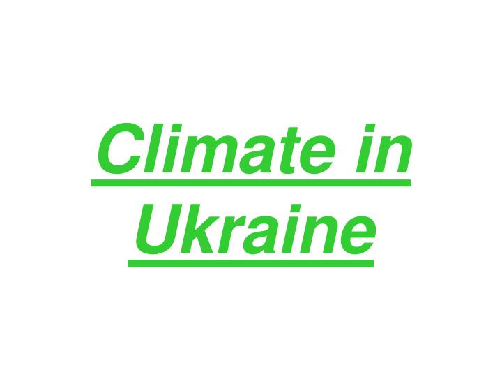 Climate in