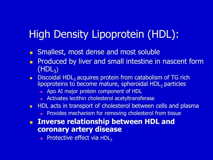 High Density Lipoprotein (HDL):