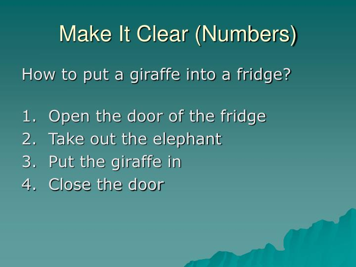 Make It Clear (Numbers)