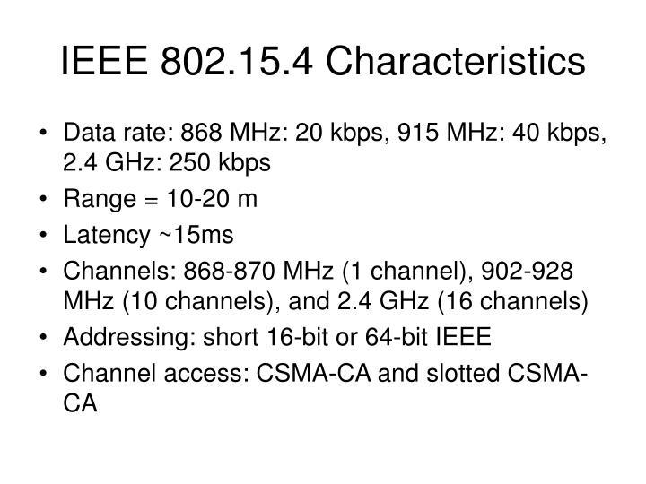 IEEE 802.15.4 Characteristics