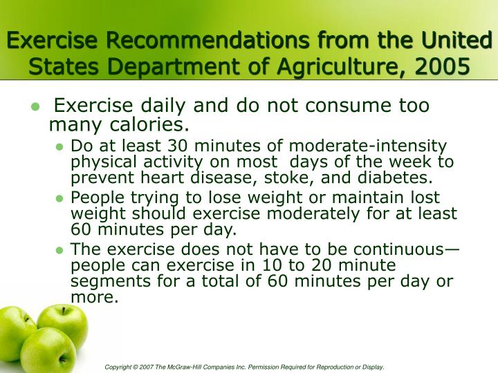 Exercise Recommendations from the United States Department of Agriculture, 2005