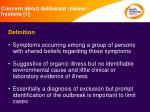 concern about deliberate release hysteria 1