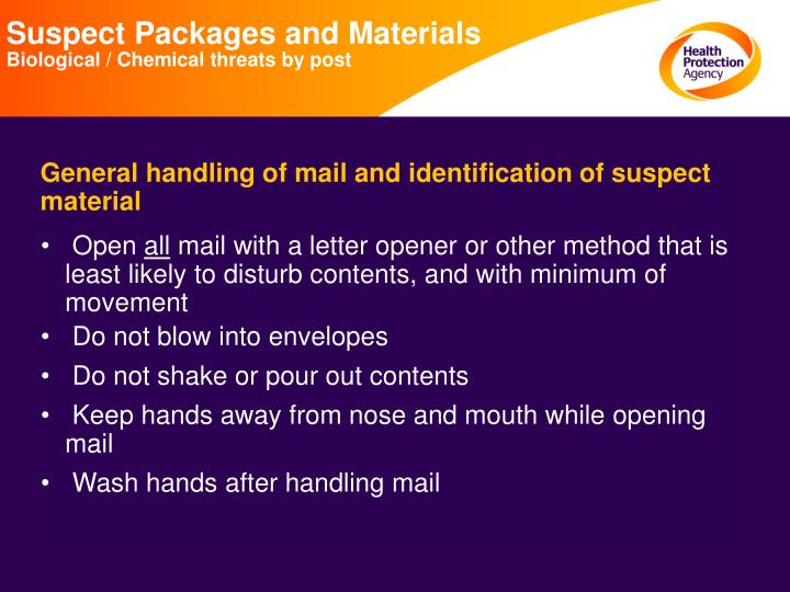 Suspect Packages and Materials