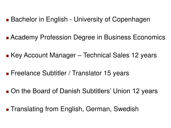 Bachelor in English - University of Copenhagen