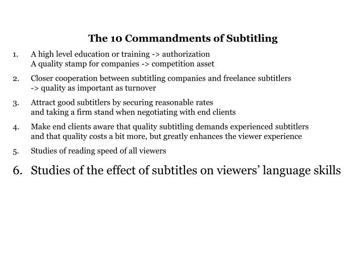 The 10 Commandments of Subtitling