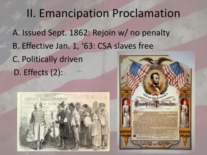 II. Emancipation Proclamation