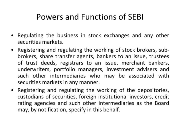 Powers and Functions of SEBI