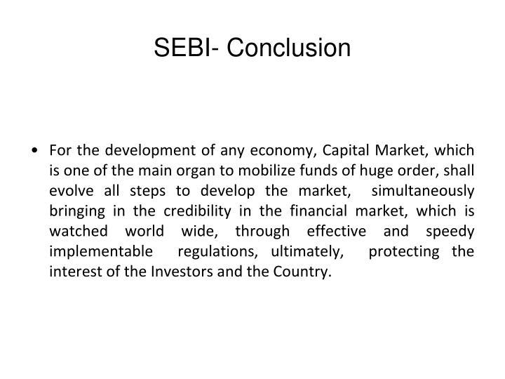 SEBI- Conclusion