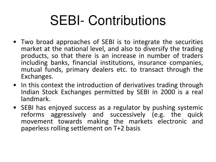 SEBI- Contributions