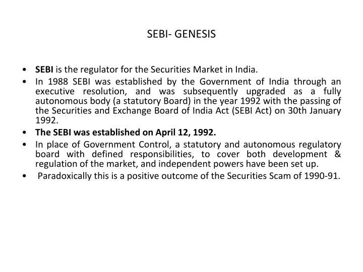 SEBI- GENESIS