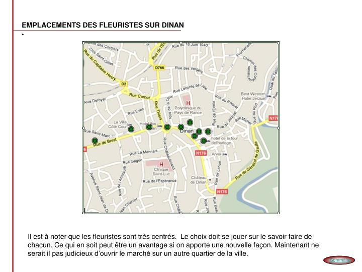 EMPLACEMENTS DES FLEURISTES SUR DINAN