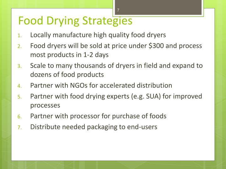 Food Drying Strategies