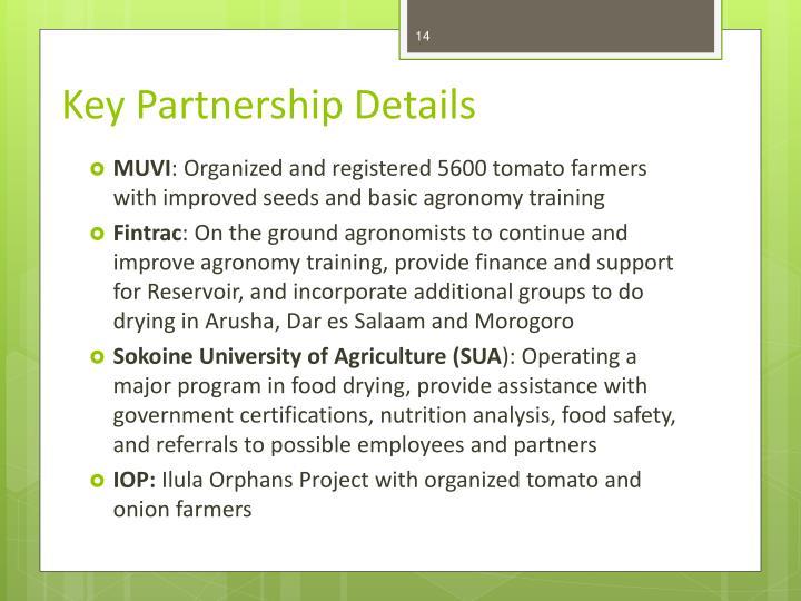 Key Partnership Details