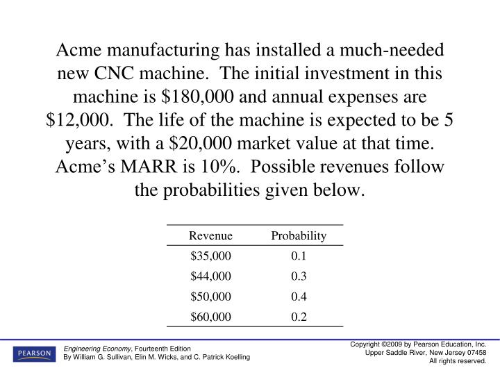 Acme manufacturing has installed a much-needed new CNC machine.  The initial investment in this machine is $180,000 and annual expenses are $12,000.  The life of the machine is expected to be 5 years, with a $20,000 market value at that time.  Acme's MARR is 10%.  Possible revenues follow the probabilities given below.