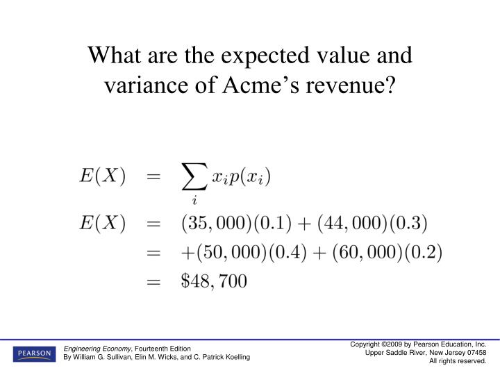 What are the expected value and variance of Acme's revenue?