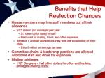 benefits that help reelection chances