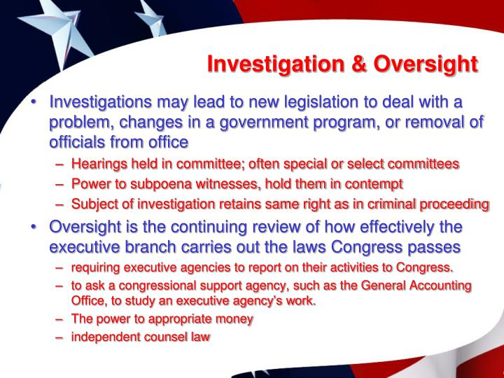 Investigation & Oversight