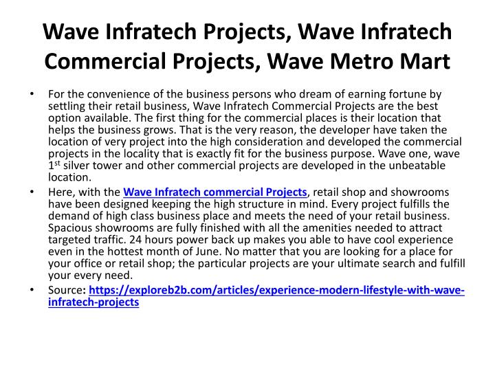 Wave Infratech Projects, Wave Infratech Commercial Projects, Wave Metro Mart