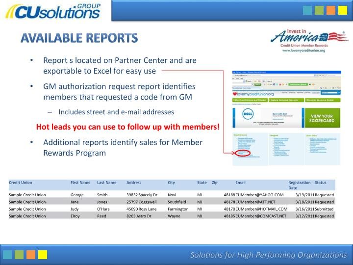Available Reports