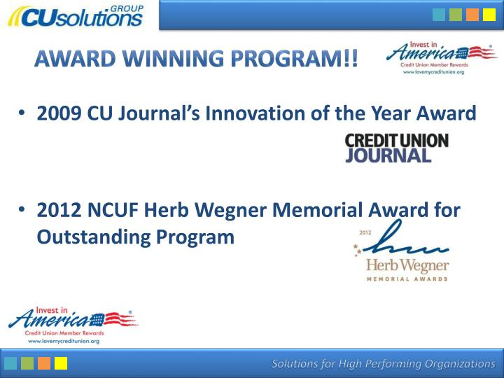 Award Winning PROGRAM!!