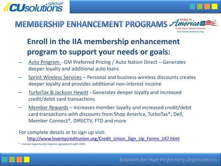 Membership Enhancement Programs