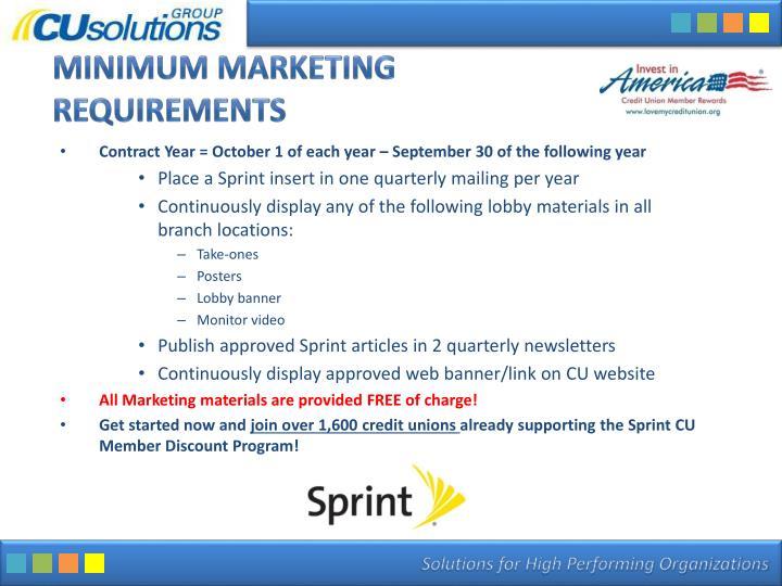 Minimum Marketing Requirements